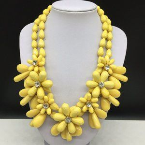Talbots Yellow Beaded Rhinestone Flower Necklace